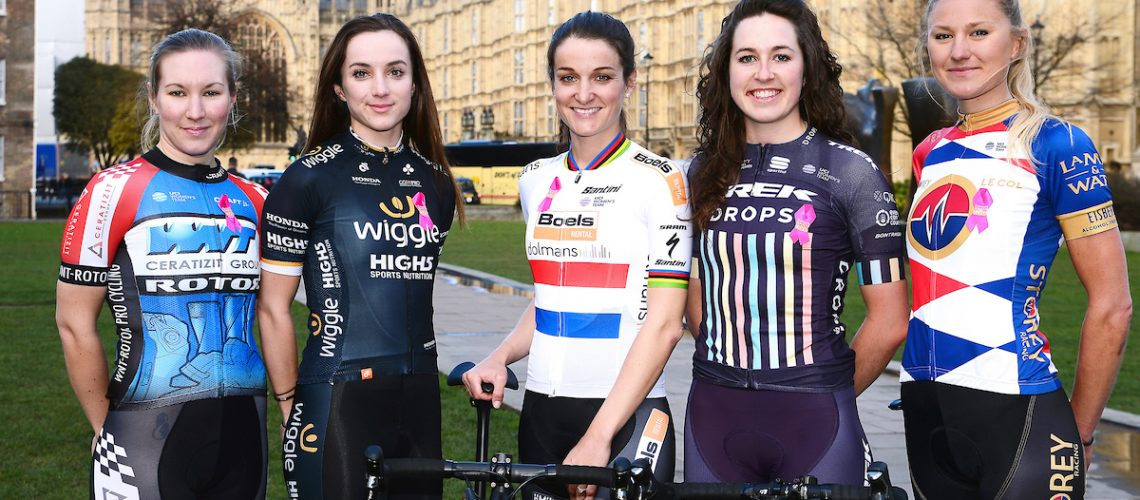 Picture by SWpix.com - 07/03/2018 - Cycling - 2018 OVO Energy Women's Tour Launch - Westminster, London, England - Hayley Simmonds (WNT Rotor), Elinor Barker (Wiggle High5), Lizzie Deignan (Boels Dolmans), Hannah Payton (Trek Drops) and Joscelin Lowden (Storey Racing) pictured at College Green outside the Houses of Parliament to launch the 2018 OVO Energy Women's Tour.
