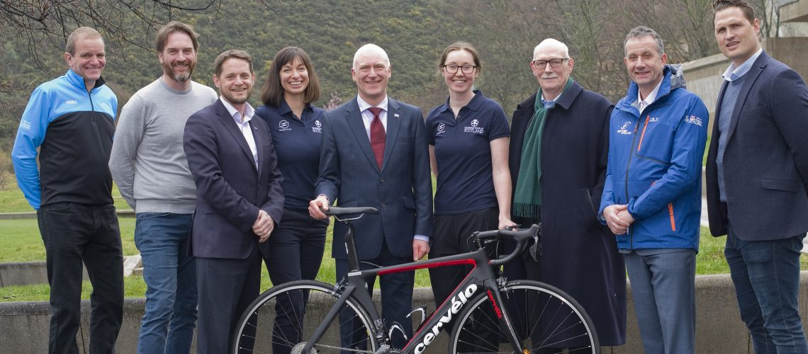 Women's Tour of Scotland with Katie Archibald MBE   L_R Paul Zarb, Scottish Cycling  Gareth Edwards, Principal Deloitte Robbie Clyde Head of EventScotland  Esther O'Callaghan Head of Legacy & Development WTOS Joe FitzPatrick MSP Minister for public health sport and wellbeing  Katie Archibald MBE Alan Rushton, Race Director WTOS Tom Bishop President Scottish Cycling  Darren Clayton Man Director WTOS