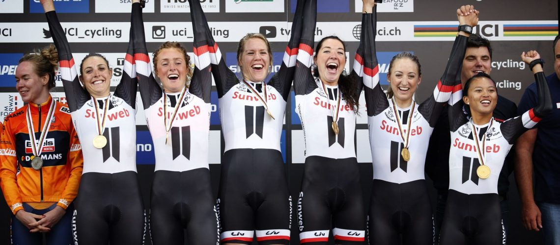 Bergen - Norway - wielrennen - cycling - cyclisme - radsport - Team Sunweb pictured during the Team Time Trial 2017 World Road Championship womens cyclingrace on September 17, 2017 in Bergen, Norway  - photo Dion Kerckhoffs/Cor Vos © 2017